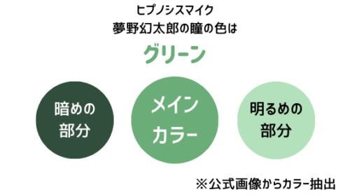 夢野幻太郎の瞳の色はグリーン